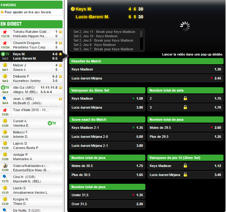 Unibet matchs en direct