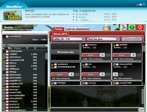 Lobby de belote sur Gametwist