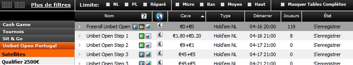 Satellite Unibet Open