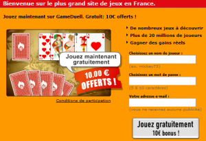 Inscription GameDuell argent facile