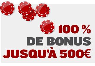 100% de bonus jusqu'à 500 €