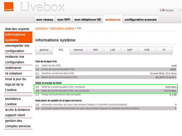 verifier les donnees de connexion sur la Livebox