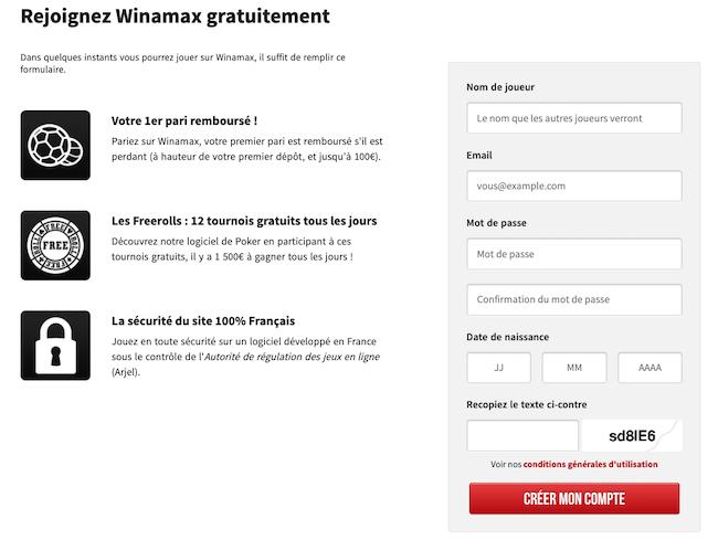 Ouvrez un compte WInamax